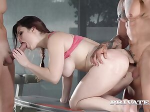 Triptych Give Red Head Babe, Big Tits, Gym Porn